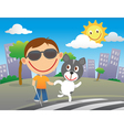 Happy blind child with his guide dog vector image vector image