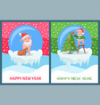happy new year pig decorating christmas tree vector image vector image