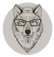 hipster portrait of wolf with glasses vector image vector image