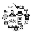 hipster style black icons set vector image vector image