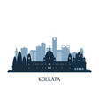 kolkata skyline monochrome silhouette vector image vector image