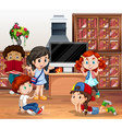 Lots of children reading book in library vector image vector image