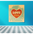 Love You Retro Poster on the Wall in the Room with vector image