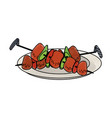 meat on stick vector image vector image