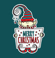 Merry Christmas Elf Holding Sign vector image
