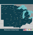 midwestern united states vector image vector image