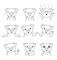 pig outline emoticons icons set year of the pig vector image