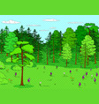 pop art background forest glade lots of trees vector image vector image