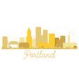 portland oregon usa city skyline golden silhouette vector image vector image