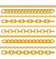 realistic gold necklace chains brushes set vector image