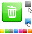 Recycle bin glossy button vector image vector image