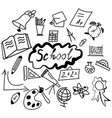 set of back to the school icons black vector image vector image