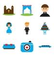 Set of flat web icons on white background wedding vector image vector image