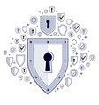 shield and set of icons internet security concept vector image vector image