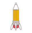 silhouette color sections of pencil in rocket form vector image