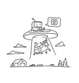 sketch ufo steal a cow robot alien character 404 vector image