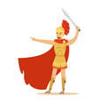 spartan warrior character in golden armor and red vector image vector image