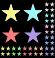 star white star collection with colored stripes vector image