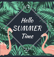 summer promo sale banner flamingo palm leaves vector image