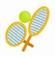 Tennis rackets with ball icon isometric 3d style vector image vector image