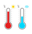 thermometer icons hot and cold temperature symbol vector image