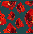 tropical red lily flowers vintage blue background vector image vector image