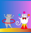 two cartoon cats performing in the circus vector image vector image