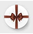 White Gift Box with Brown Chocolate Bow and Ribbon vector image
