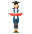 Woman in graduation cap holding book vector image