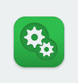 gear icon on square button gear mechanism icon vector image