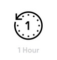 1 hour icon editable outline vector image vector image