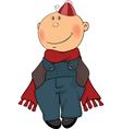 A boy in a winter coat and a beanie cartoon vector image vector image