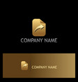 arrow right paper gold logo vector image