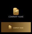 arrow right paper gold logo vector image vector image