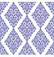 blue and white pattern damask style vector image vector image
