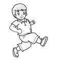 boy runs sketch coloring isolated object on white vector image vector image