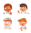 boys holding empty white board vector image