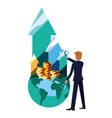 businessman money bank vector image
