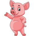 cartoon pig posing vector image vector image