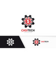 casino and gear logo combination chip and vector image vector image