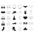 clothes and accessories blackoutline icons in set vector image vector image