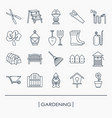 collection of outline gardening icons vector image vector image