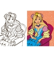 Colouring Book Of Blonde Princess vector image vector image
