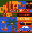 cuba tourism icons vector image vector image