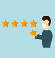 customer gives rating five stars vector image