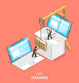 data sharing service isometric flat concept vector image