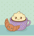 delicious chocolate cup and sweet food kawaii vector image vector image