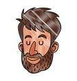 drawing face man beard close eyes vector image