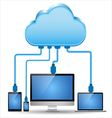 Electronic device connected to the cloud computing vector image vector image