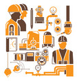 engineer and industrial equipment icons vector image vector image